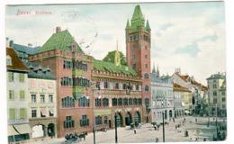 Basel - Rathaus Mit Leben Farbig 1906 - BS Basel-Stadt