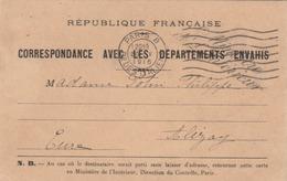 """CP  FM """"Correspondance Avec Les Départements Envahis"""". Transmise Par La Croix Rouge De Francfiort S Mein. (TTB) - Marcofilia (sobres)"""