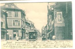 Basel - STRASSENBAHN In AESCHENVORSTADT Mit Strassenleben Und Geschäfte 1904 - BS Basel-Stadt