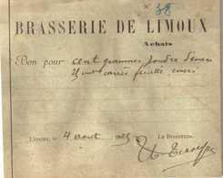Document Du 04/08/1925 BRASSERIE De LIMOUX 11 - 1900 – 1949