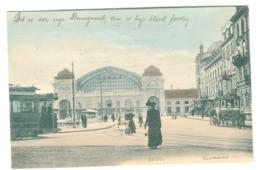 """Basel - BUNDESBAHNHOF Mit Strassenbahn Und Leben Und Hotel Eulen-""""Diligence"""" Koloriert 1907 - BS Basel-Stadt"""