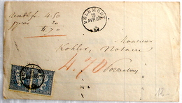 Schweiz Suisse 1866: HELVETIA 10c Bleu Zu 31 Mi 23 Yv 36 Avec O DELEMONT 19 AVR 66 Pour PORRENTRUY 19 AVR 66 - Brieven En Documenten