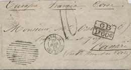 1868- Enveloppe De St Thomas ( Îles Vierges )  Pour Nonza ( Corse )  Exch. G B / 1F 60 C  +  Taxe 10 D - Marcophilie (Lettres)