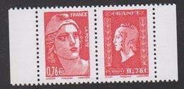 2015-P4991**(4991/4992**)PAIRE MARIANNE DE GANDON ET DE DULAC DU CARNET LIBERATION - France