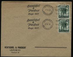 WW II DR Firmen Briefumschlag Mit Sonderbriefmarken: Gebraucht Mit Stempelmaschine 385 Hentschel Und Pinckert Leipzig - Briefe U. Dokumente