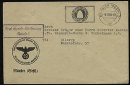 WW II Dienstpost Briefumschlag : Gebraucht Münster - Hiltrup 1938 , Bedarfserhaltung. - Briefe U. Dokumente
