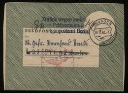 WW II Feldpostbrief Mit Inhalt: Gebraucht Sudauen Ostpreußen - Berlin Mit Seltenem Zurückvermerk Unrichtige Feldpostnu - Briefe U. Dokumente