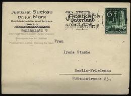 WW II Werbe Postkarte Danzig: Gebraucht Mit Briefmarke + Werbestempel Eisernes Kreuz Danzig - Berlin 1939, Bedarfserha - Briefe U. Dokumente