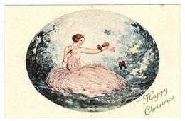 Carte Illustrateur - FEMME En Robe - OISEAU - SEIN NU - MODE - HAPPY CHRISTMAS - Ed. Paris-Gravures, 1054 - Women