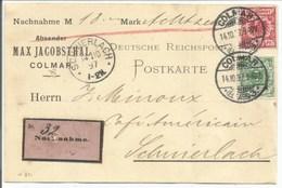 H811 - Nachname COLMAR - 1897 - Max JACOBSTHAL Dampfbrennerei Mineralwasser - Pour LAPOUTROIE - - Alsace Lorraine