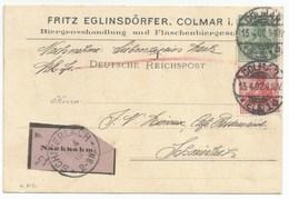 H812 - Nachname COLMAR - 1902 - Fritz EGLINSDÖRFER Biergrosshandlung Bière - Pour LAPOUTROIE - - Postmark Collection (Covers)