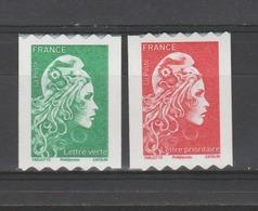 FRANCE / 2018 / Y&T N° AA 1601/1602 ** : Marianne D'YZ (roulettes Adhésives) TVP LV & LP - ** Etat D'origine - France