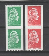 FRANCE / 2018 / Y&T N° AA 1601/1602 ** : Marianne D'YZ (roulettes Adhésives) TVP LV & LP - 2 Paires - Adhesive Stamps