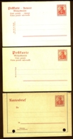 LOT 3 ENTIERS POSTAUX ALLEMAGNE- 2 POSTKARTE EMPIRE + 1 DEVANT KARTENBRIEF- NEUFS - 10 Pf ROUGE- - Germania