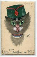 """CHATS MILITARIA  'Un Serbe De 1917 """" Chat Patriotique   Carte Faite Main Peinte  écrite En 1917     D01 2019 - Chats"""