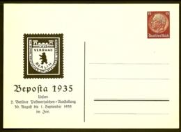 LOT 3 ENTIERS ALLEMAGNE- POSTKARTE DEUTSCHES REICH III°- HINDENBURG 5- 10- 15 Pf + ILLUSTRATION BEPOSTA 1935- 3 SCANS - Brieven En Documenten