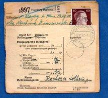 Colis Postal  -  Départ Hamburg-Harburg 1  -  Pour Cocheren  - 07/12/1942 - Allemagne