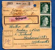 Colis Postal  -  Départ Nider Jeutz  -  Pour Cocheren  - 09/12/1942  -  Abimé - Allemagne