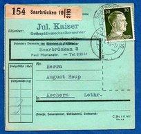 Colis Postal  -  Départ Saarbruken 10  -  Pour Cocheren  - 28/1/1943 - Storia Postale