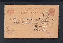 Romania Stationery 1890 Tirgu-Vestei To Germany - 1881-1918: Carol I.