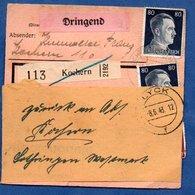 Colis Postal  -  Départ Lyck -- Pour Kochern  - 8/6/1943 - Germany