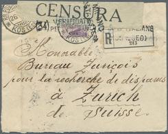 Ägäische Inseln: 1918 (26.4.), 50 C. Violett Mit Aufdruck 'Cos' Einzelfrankatur Auf Zensuriertem R-B - Ägäis