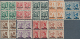 Ägäische Inseln - Kastellorizo: 1922, 5c. To 85c., Complete Set Of Nine Values As Blocks Of Four, Fe - Castelrosso