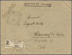 Albanien: 1909. Registered Envelope Addressed To Germany Bearing Yvert 45, 80 Para On 50c Violet Tie - Albanien