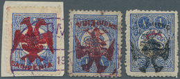 Albanien: 1913, Double Headed Eagle Overprints, 1pi. Blue, Two Used Copies With RED Overprint (sligh - Albanien