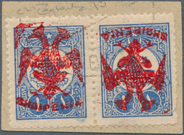 Albanien: Albania, 1913, 1 Piaster Blue Of Turkey Pair With RED (instead Of Normal Black) Handstamp - Albanien