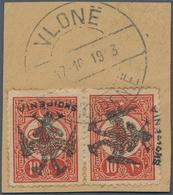 "Albanien: 1913, Double Headed Eagle Overprints, 10pi. Vermilion, Horizontal Pair Showing Variety ""le - Albanien"