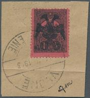 Albanien: 1913, Double Headed Eagle Overprints, 1pi. Black On Rose, Fresh Colour, On Piece Neatly Ca - Albanien