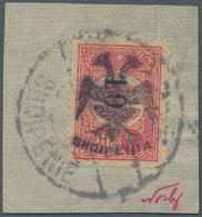 Albanien: 1913, Double Headed Eagle Overprints, 10 On 20pa. Rose, Fresh Colour, On Piece Neatly Canc - Albanien