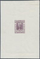 """Albanien: 1914. Lot Of 3 Imperforate Single Printings For Unissued Stamp """"25 Q Wilhelm"""" In Blue, Red - Albanien"""