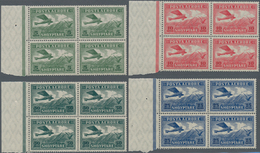 Albanien: 1925, Adria Aero-Lloyd As Mint Blocks Of Four From Bopgenrand, 3 Fr With HAN And 2 Fr With - Albanien