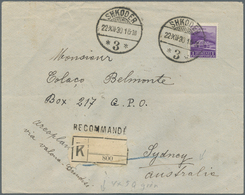 Albanien: 1930 Registered Letter Franked With 4x5 Qind Green And 1 Fr. Violet From Shkoder To Sydney - Albanien