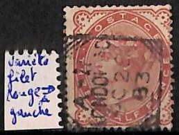 NB - [828725]Grande-Bretagne         1884 - N° 91-var, Half Penny Rouge, Piquage (filet Rouge Dans La Dentelure, à Gauch - 1840-1901 (Victoria)