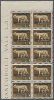 Albanien: 1940, Not Issued Overprints On Italy, 1q. On 5c. Brown, Marginal Block Of Ten From The Upp - Albanien