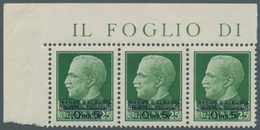 Albanien: 1940, Not Issued Overprints On Italy, 5q. On 25c. Green, Horizontal Strip Of Three From Th - Albanien