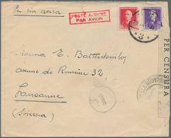 Albanien: 1940. Air Mail Envelope (tear At Top, Flap Missing) Addressed To Switzerland Bearing Alban - Albanien