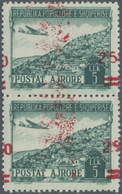 Albanien: 1952, Airmail Stamp 5 Lek In A Vertical Pair With Strongly Shifted Red Imprint, Always Min - Albanien