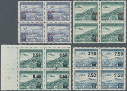 Albanien: 1952, Airmail Stamp 2 Lek And 5 Lek With Red Overprint In Blocks Of Four (lightly Folded), - Albanien