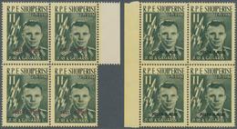 Albanien: 1962, Jurij Gagarin Mit Aufdruck 'POSTA AJRORE' In Purpur Bzw. Schwarz Kompl. Satz Mit Sec - Albanien