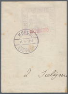 Albanien - Lokalausgaben: 1914. KORCE MILATARY POST. 10 P Violet (value In Red) Directly Printed On - Albanien
