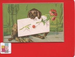 AMIDON VERMEIRE HAMME BELGIQUE Superbe Chromo Calendrier 1890 Chien Lettre Fleurs épagneul - Calendars