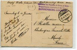 """SUISSE MILITARIA Cachet """" Internement Prisonniers Guerre En Suisse SONNENBERG LUCERNE """"  1916 écrite    D01 2019 - LU Lucerne"""
