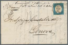 Italien - Altitalienische Staaten: Sardinien: 1854, 20 C Blue, Wide Margins All Around, Single Frank - Sardinien