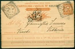 V8031 ITALIA REGNO 1890 Cartolina Vaglia C. 20 - Lire 15, Fil. V12, Interitalia 8, Da Ancona 29.9.93 A Vittorio (TV), - 1878-00 Umberto I