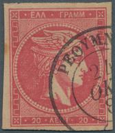 "Kreta: 1881 GREEK POST OFFICE IN CRETE: ""RETHYMNON 24.10.188?"" Cds On 20 Lepta Large Hermes Head. Ve - Kreta"