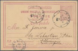 Kreta - Ganzsachen: 1897, Turkish 20 Para Stationery Card Sent From HANIA To Ober-Lahnstein, Germany - Kreta